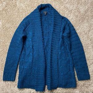Talbots Teal Blue Chunky Cardigan Sweater S Petite
